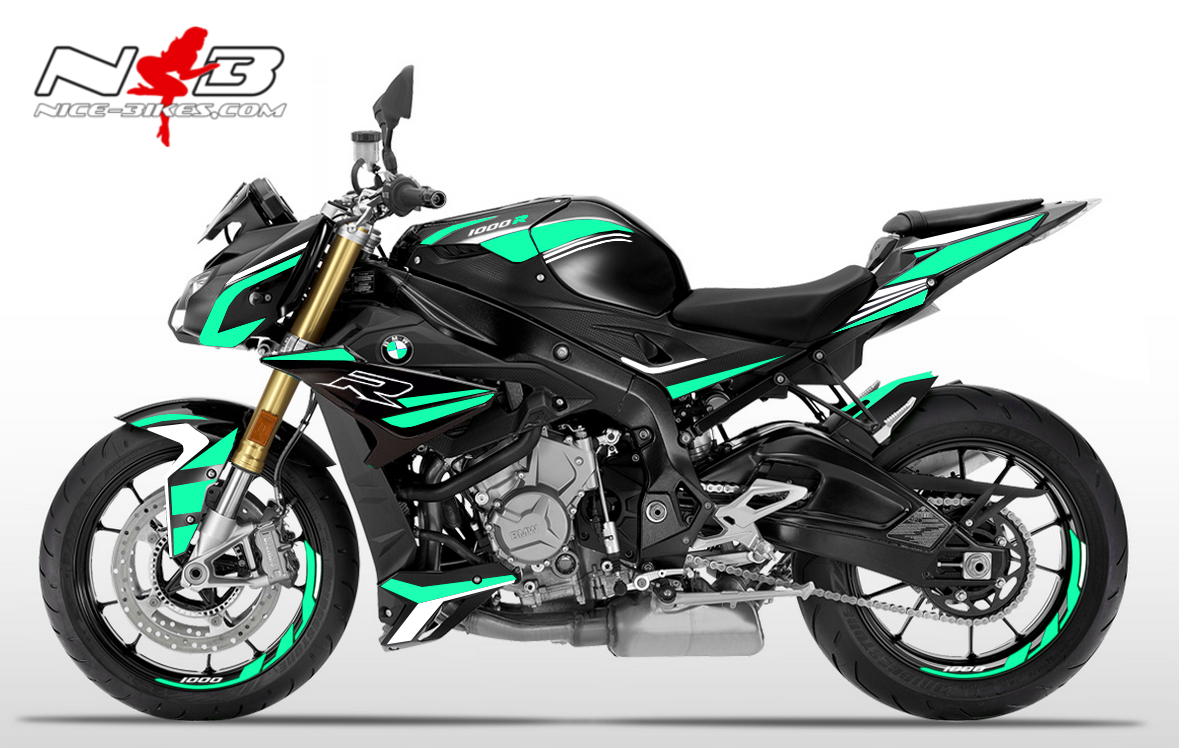 Foliendesign BMW S1000R (Bj. 2020) Mint Blue-White