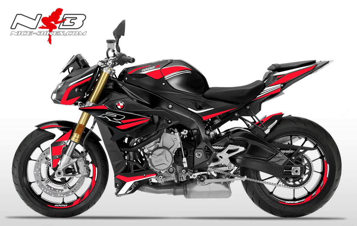 Foliendesign BMW S1000R (Bj. 2020) Racing Red-White