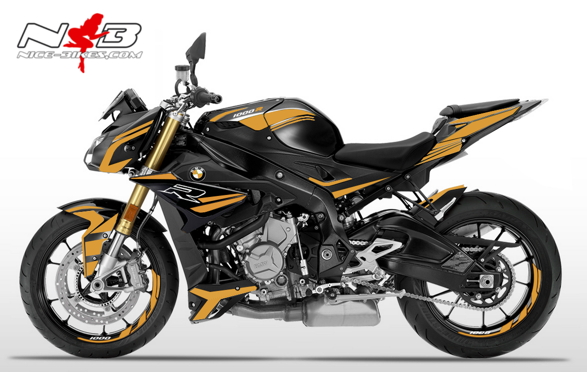 Foliendesign BMW S1000R (Bj. 2020) Olympic Gold-White