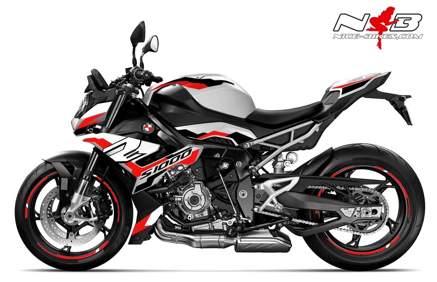 Foliendesign BMW S1000R (Bj. 2021) Racing Red