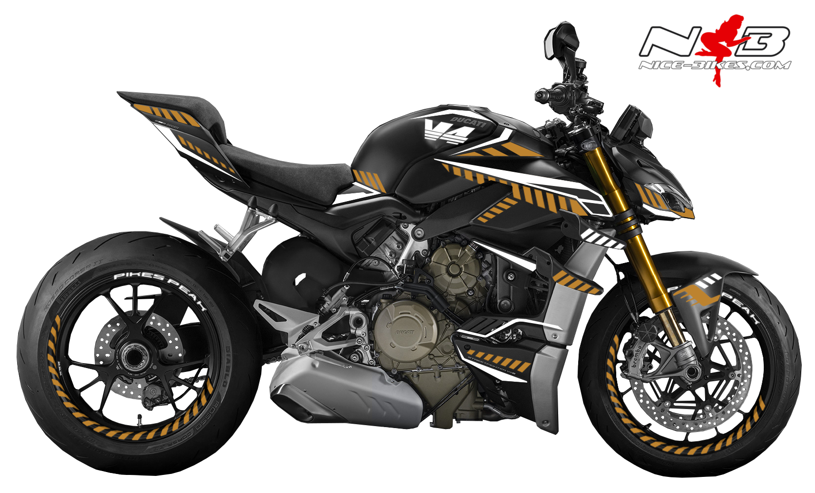 Foliendesign DUCATI Streetfighter ab 2021 Inferno Edition Olympic Gold