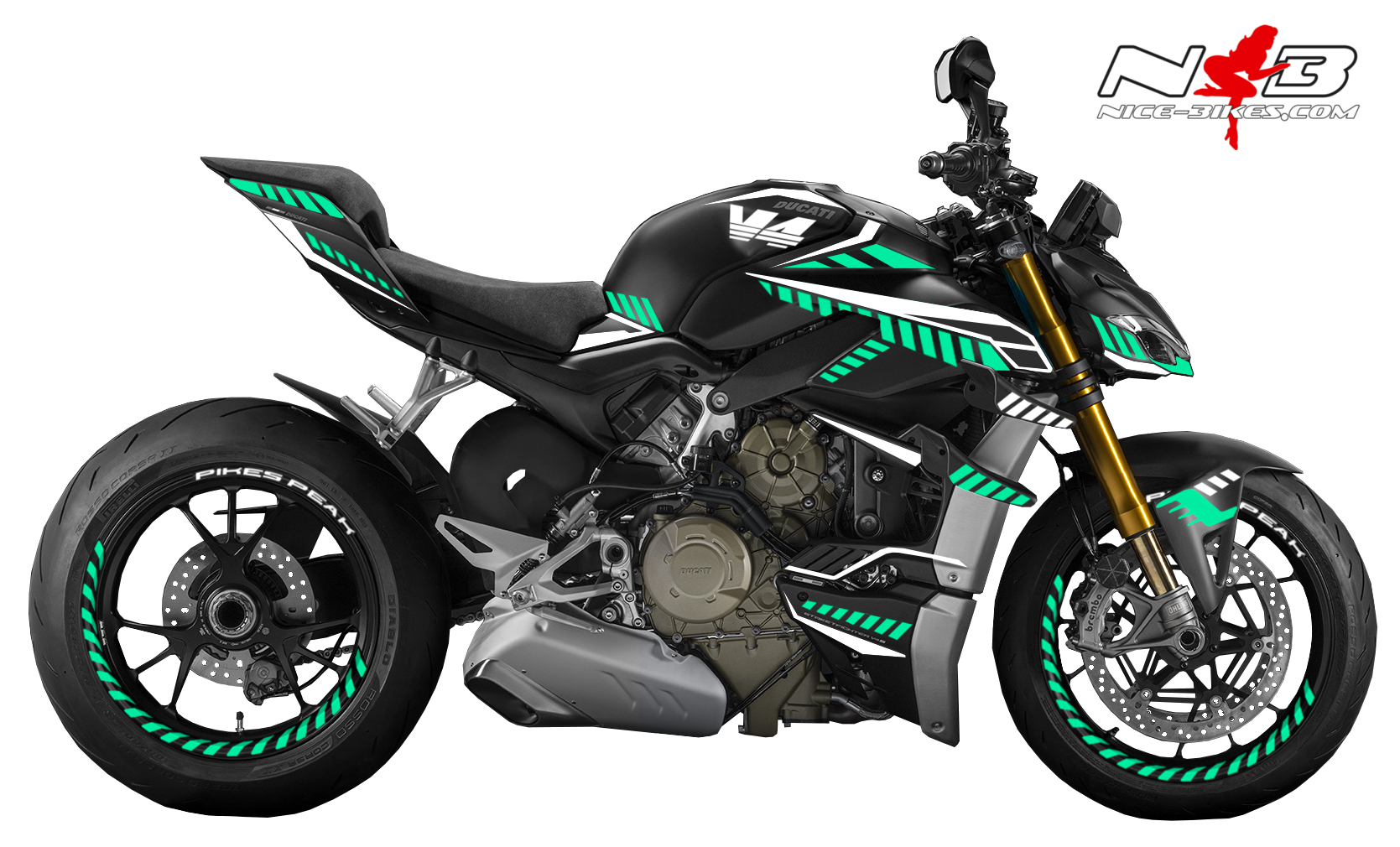 Foliendesign DUCATI Streetfighter ab 2021 Inferno Edition Racing Mint Blue