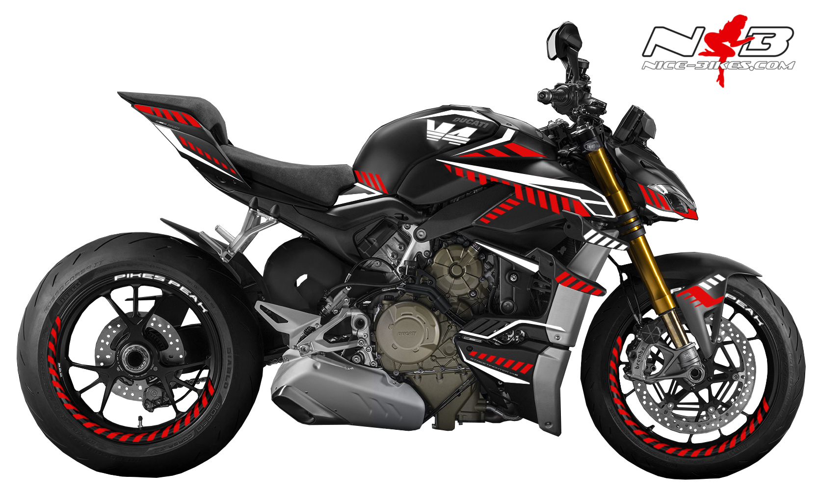 Foliendesign DUCATI Streetfighter ab 2021 Inferno Edition Racing Red