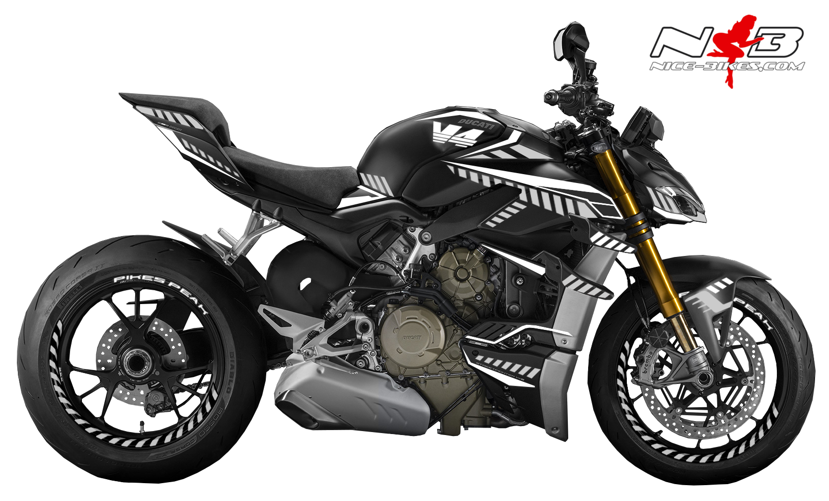 Foliendesign DUCATI Streetfighter ab 2021 Inferno Edition Racing White