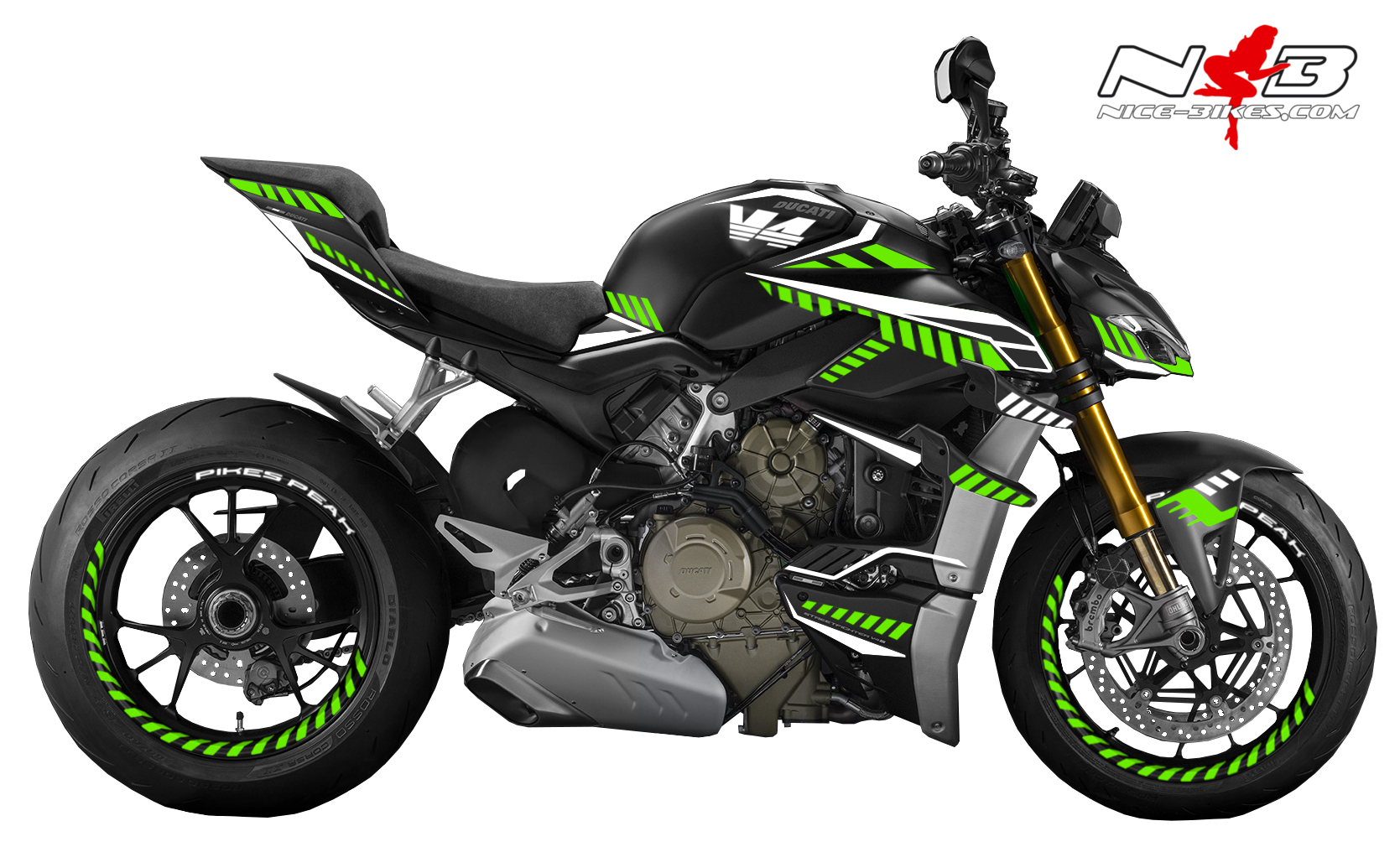 Foliendesign DUCATI Streetfighter ab 2021 Inferno Edition Lime Green