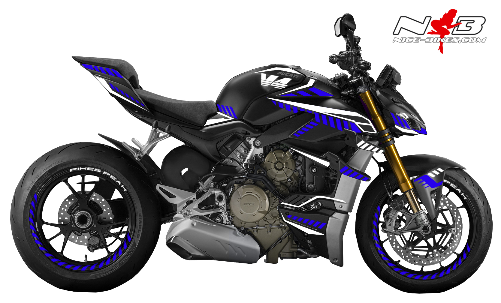 Foliendesign DUCATI Streetfighter ab 2021 Inferno Edition Racing Blue