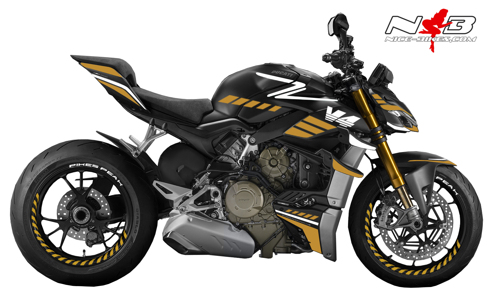Foliendesign DUCATI Streetfighter ab 2021 SPEED Olympic Gold