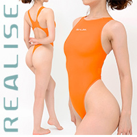 "T1001 REALISE ""SECONDSKIN"" klassischer Badeanzug in transparent orange"