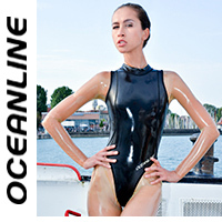 "OCEANLINE ""Dorado"" highneck neoprene swimsuit in black"