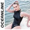 "OCEANLINE ""Blue Hole"" highneck thong neoprene swimsuit in black"