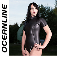 "OCEANLINE ""BARBUDA"" highneck short sleeved neoprene swimsuit in black"