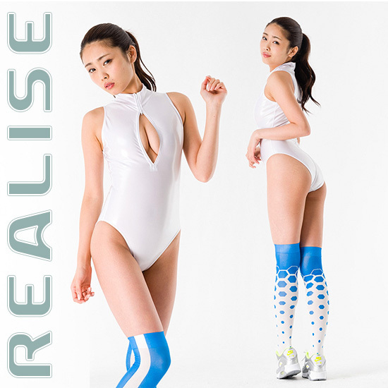"N206 REALISE swimsuit white front zipper ""ENAMEL 2WAY"""