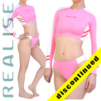 "N035 P-4 REALISE hydrasuit 2 piece ""Super Shiny Wet"" in pink-white"