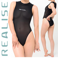 "N1020 REALISE ""SECONDSKIN"" highneck see through swimsuit in black"