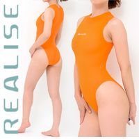 "N1020 REALISE ""SECONDSKIN"" highneck see through swimsuit in orange"