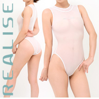 "N1020 REALISE ""SECONDSKIN"" highneck see through swimsuit in white"