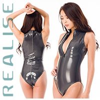 N306 REALISE JAPAN ENAMEL front zipper swimsuit in smokey grey