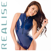 N306 REALISE JAPAN ENAMEL front zipper swimsuit in indigo
