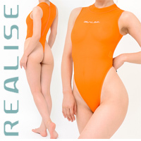 "T1020 REALISE ""SECONDSKIN"" highneck see through swimsuit in orange"