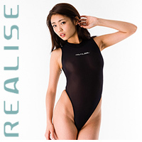 "T1020 REALISE ""SECONDSKIN"" highneck see through swimsuit in black"