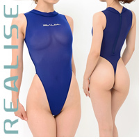 "T1020 REALISE ""SECONDSKIN"" highneck see through swimsuit in navy"
