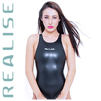 N708 REALISE swimsuit in black with sportback JAPAN ENAMEL