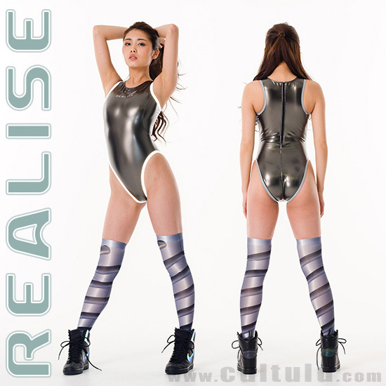 "N909 REALISE ""Reflector Pipe"" swimsuit in GUNMETAL"