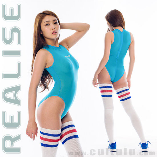 "N1020 REALISE ""SECONDSKIN"" highneck see through swimsuit in blue"