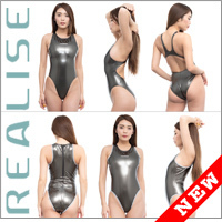 "Realise [N-900] ""GUNMETAL"" rubberized swimsuits in different cuts"