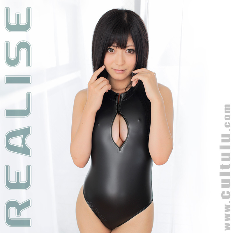 N706 REALISE JAPAN ENAMEL front zipper swimsuit in black