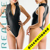 "T506 REALISE thong frontzipper swimsuit ""SSW"" in black-white"