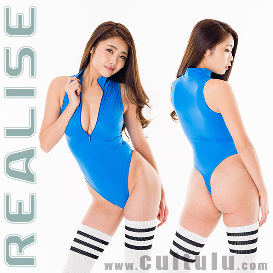 "T506 REALISE thong frontzipper swimsuit ""SSW"" in blue-blue"