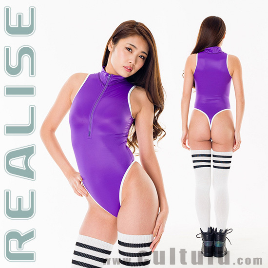 "T506 REALISE thong frontzipper swimsuit ""SSW"" in purple-white"