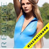 "N506 REALISE front zipper swimsuit ""Super Shiny Wet"" in blue-blue"