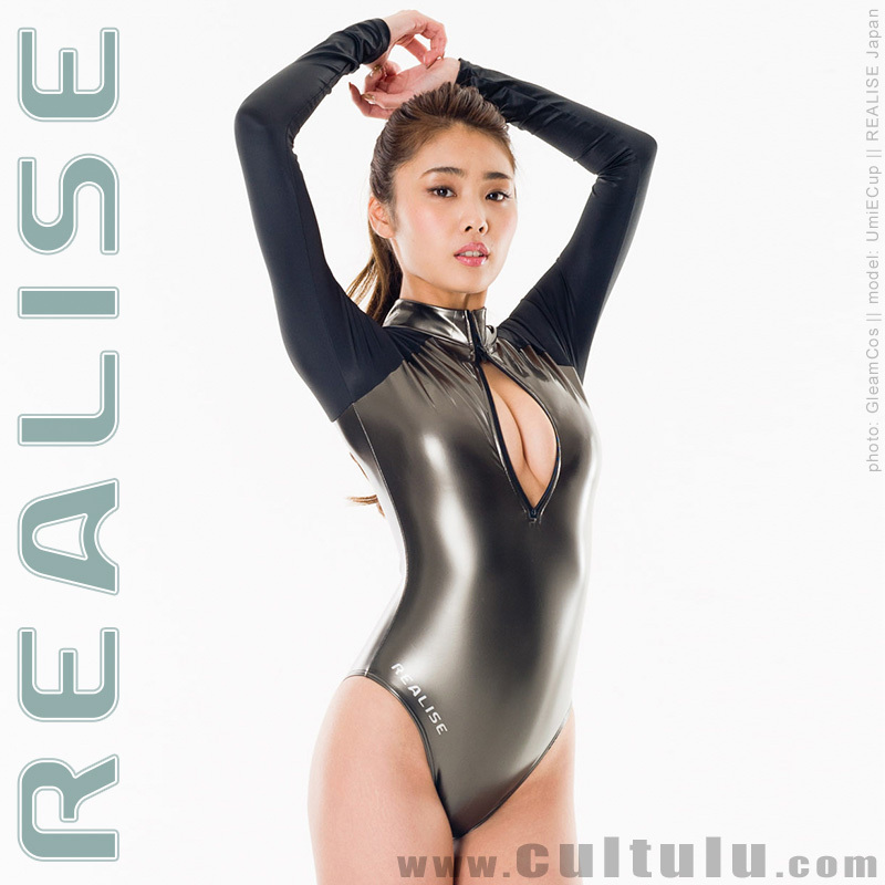 N916 REALISE rubberized longsleeved frontzip swimsuit GUNMETAL
