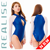 SRN-016 long sleeved swimsuit in navy with transparent sleeves