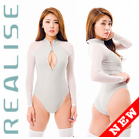 SRN-016 long sleeved swimsuit in grey with transparent sleeves