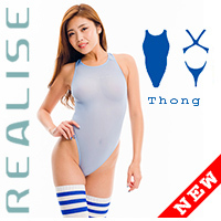 "T2001 REALISE ""ITALIAN SHEER"" thong swimsuit in light blue transparent"
