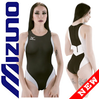 MIZUNO N2JQ8260 rubberized waterpolo swimsuit black-white