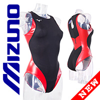 MIZUNO N2JQ8260 rubberized waterpolo swimsuit red