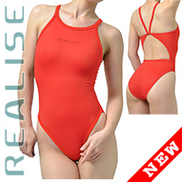 "N0331 REALISE Sukumizu swimsuit ""Easy Stretch"" red"