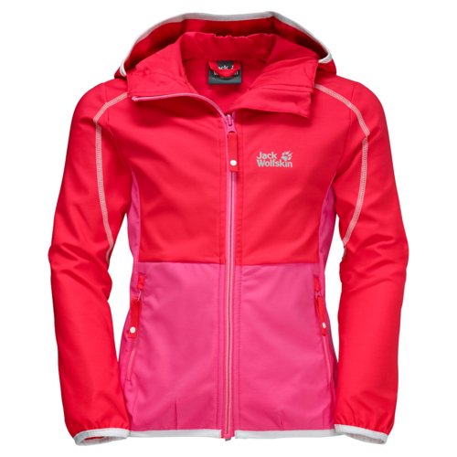 Jack Wolfskin Turbulence Girls Softshell Jacke - hibiscus red