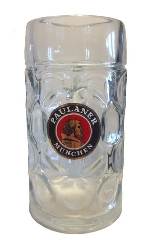 "Paulaner - German Beer Glass 1.0 Liter Stein - Masskrug - ""Oktoberfest"" - NEW"