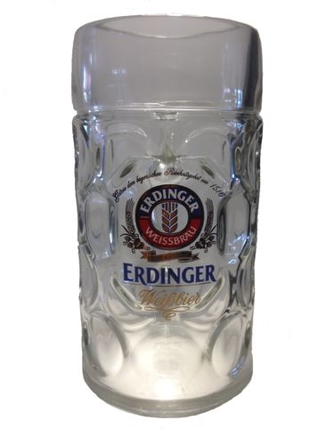 "Erdinger - German Beer Glass 1.0 Liter Stein - Masskrug - ""Oktoberfest"" - NEW"