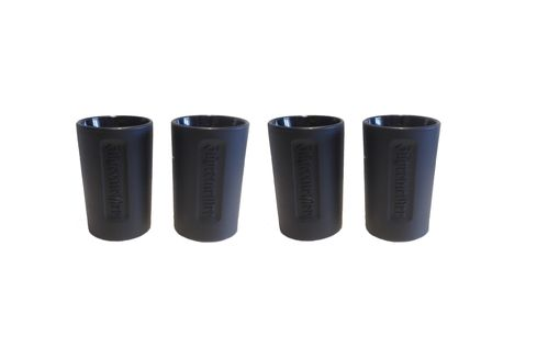 Jagermeister - set of 4 - shot glasses - 2cl - black glass/ relief logo - LIMITED! - NEW
