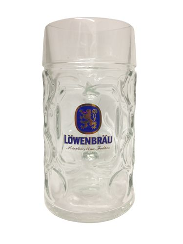 "Lowenbrau - German Beer Glass 1.0 Liter Stein - Masskrug - ""Oktoberfest"" - NEW"
